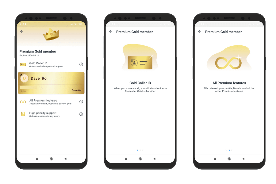 truecaller premium gold member features